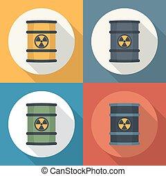 Radioactive waste in barrels