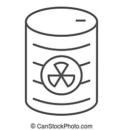 Radioactive waste thin line icon. Nuclear waste can vector illustration isolated on white. Pollution outline style design, designed for web and app. Eps 10.