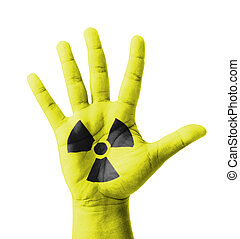 radioactivité, élevé, peint, signe, main ouverte