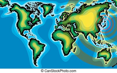 radioactivity and world map