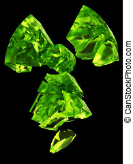 radioactivity logo uranium glass - 3D rendering of...