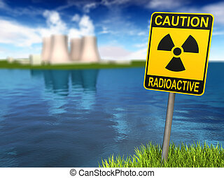 Radioactivity Sign And Nuclear Power Plant - Warning sign...