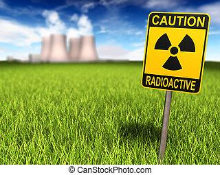 Radioactivity Sign And Nuclear Power Plant - Radioactivity...