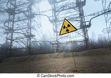 Radioactivity sign in Chernobyl Outskirts 2019 closeup