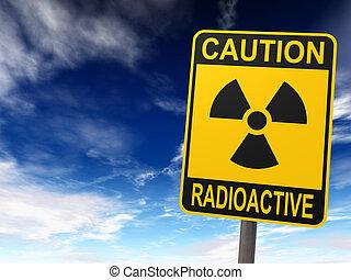 Radioactivity Sign - Radioactivity sign against the blue sky...