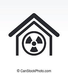 radioactivo, aislado, ilustración, solo, vector, icono