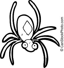 radioactivo, caricatura, araña