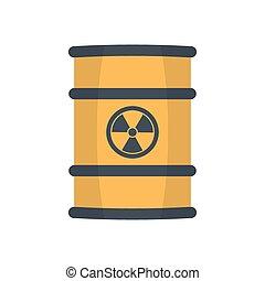 radioactivo, desperdicio, en, barrel.