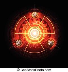 radioactivo, encendido, techno, engranajes