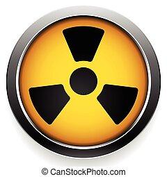 radioactivo, icono, radiación, símbolo