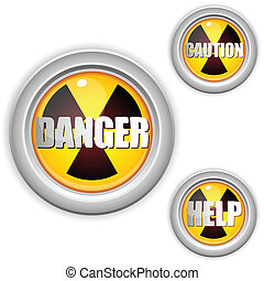 radioactivo, peligro, radiación, button., amarillo, ...