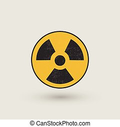 radioactivo, símbolo,  Grunge