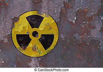 radioactivo, símbolo,  metal, oxidado