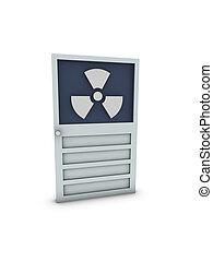 radioactivo, símbolo, puerta