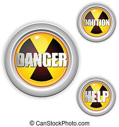 radioaktív, veszély, sugárzás, button., sárga, figyelmeztet