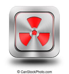 radioaktiv, aluminium, knapp, glatt, ikon, underteckna