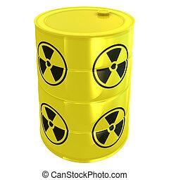 radioaktive, hvid, tank, isoleret