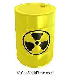 radioattivo, bianco, serbatoio, isolato