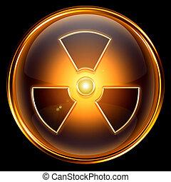 radioattivo, isolato, fondo., nero, dorato, icona