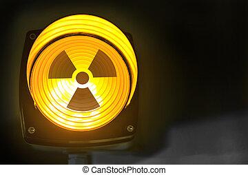 radioattivo, spia luminosa