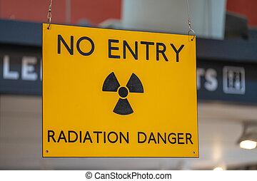 radioattivo, zona, radiazione, segno pericolo, avvertimento, giallo, ostile, entrata