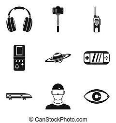 Radiocommunication icons set, simple style