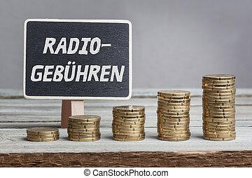 Radiogebühren (radio fees) in German, chalk blackboard and...