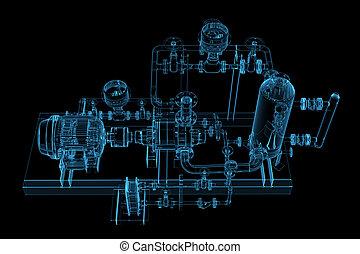 radiografía, azul, tubería, (3d, transparent)