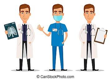 radiografía, profesional, ondulación, mano, doctor, tiro, conjunto, portapapeles, joven