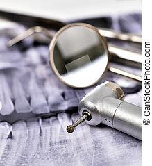 radiografía, y, herramientas dentales