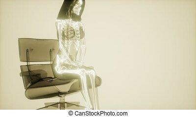 radiografia, ludzki, skandować, szkielet