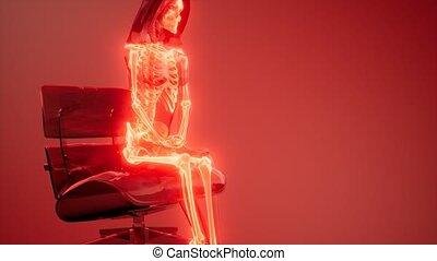 radiografia, szkielet, ludzki, skandować