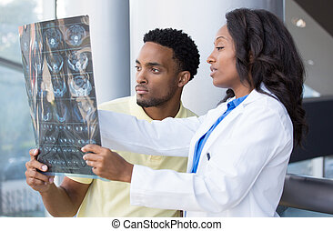Radiographic discussion - Closeup portrait of intellectual...