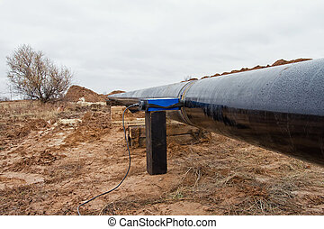 radiography of weld on gas pipeline