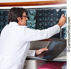 radiologe, klinik, überprüfen, röntgenaufnahme