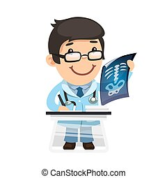 Radiologist Examines X-ray. Isolated on white background. Clipping paths included in JPG file.