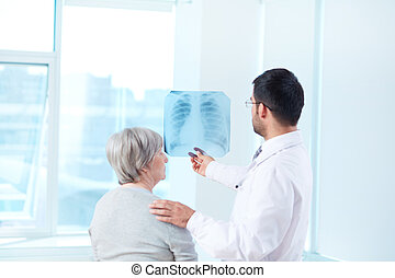 Radiologist with patient