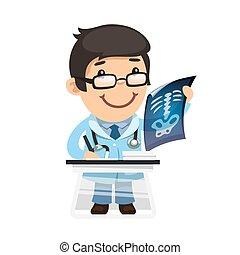 radiologo, esamina, raggi x