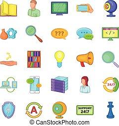 Radioman icons set, cartoon style