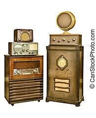 radio's, blanc, vieux, isolé, collection