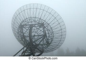 Radiotelescope in the fog