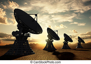Radiotelescopes silouette at sunset - Very high resolution...