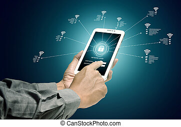 radiowe połączenie, pojęcie, internet, wifi