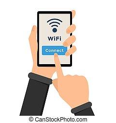 radiowe połączenie, wifi, ilustracja, internet