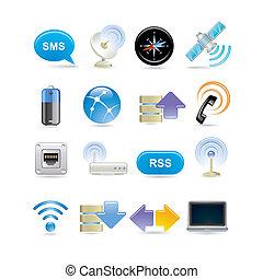 radiowy, komplet, ikona