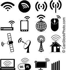 radiowy, komplet, sieć, ikony