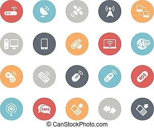 radiowy, komunikacje, ikony