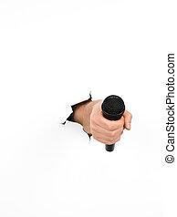 radiowy mikrofon, człowiek, dzierżawa ręka