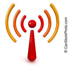 radiowy, symbol, połyskujący
