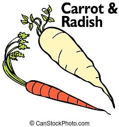 radis, carotte, ensemble